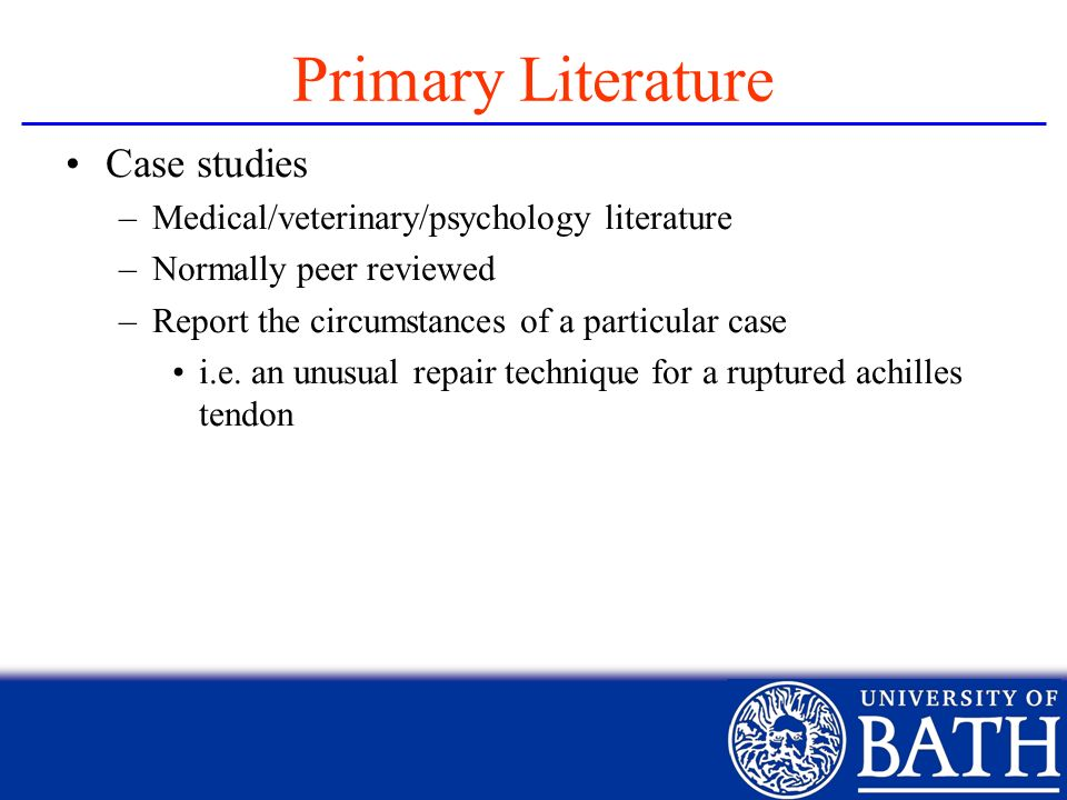 Primary Literature Case studies