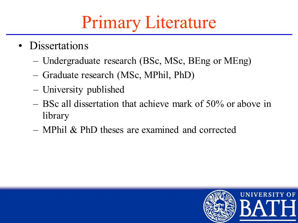 Primary Literature Dissertations