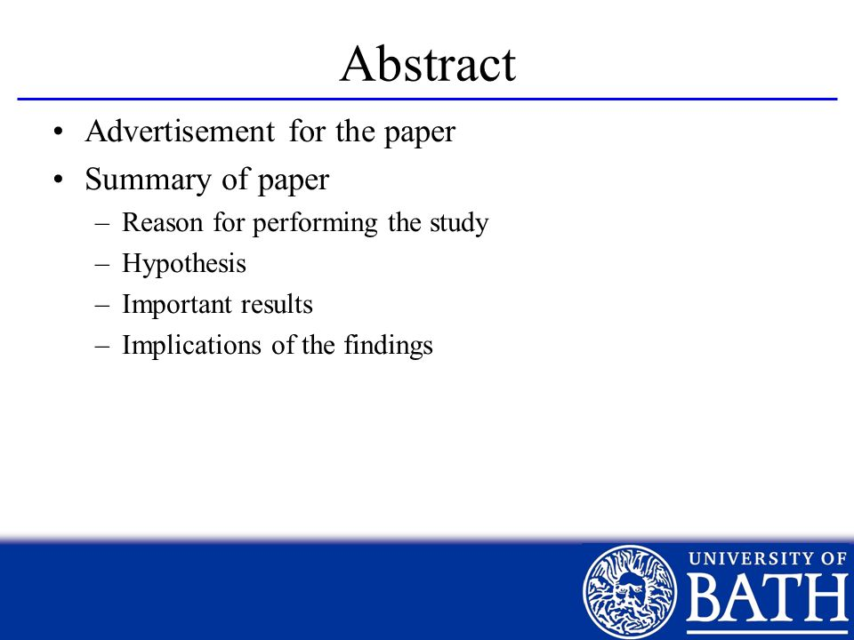 Abstract Advertisement for the paper Summary of paper