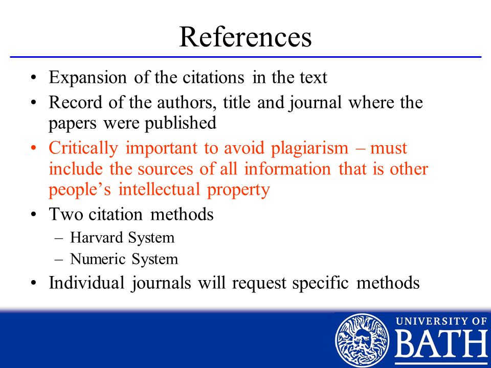 References Expansion of the citations in the text