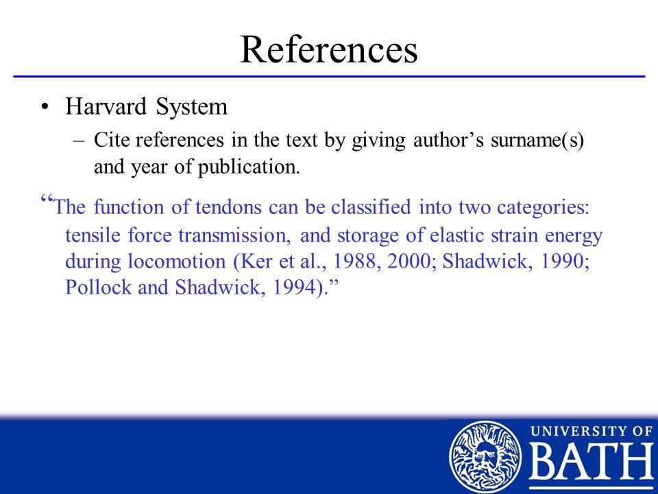 References Harvard System. Cite references in the text by giving author's surname(s) and year of publication.