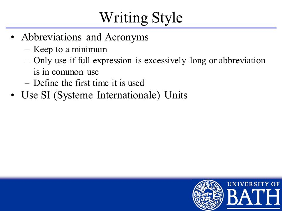 Writing Style Abbreviations and Acronyms