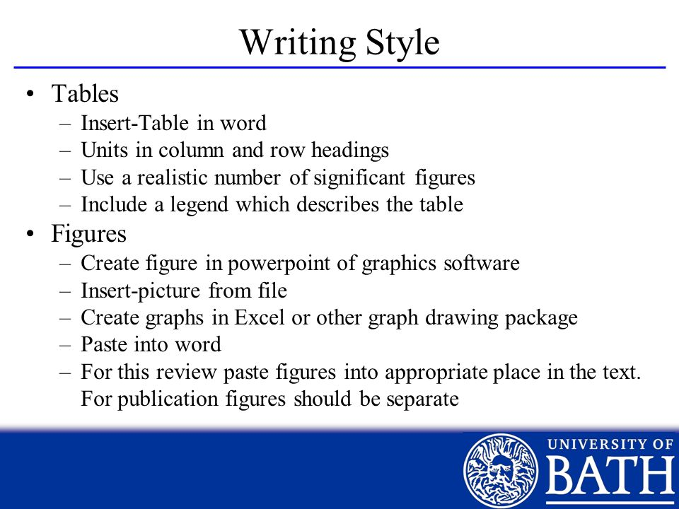 Writing Style Tables Figures Insert-Table in word