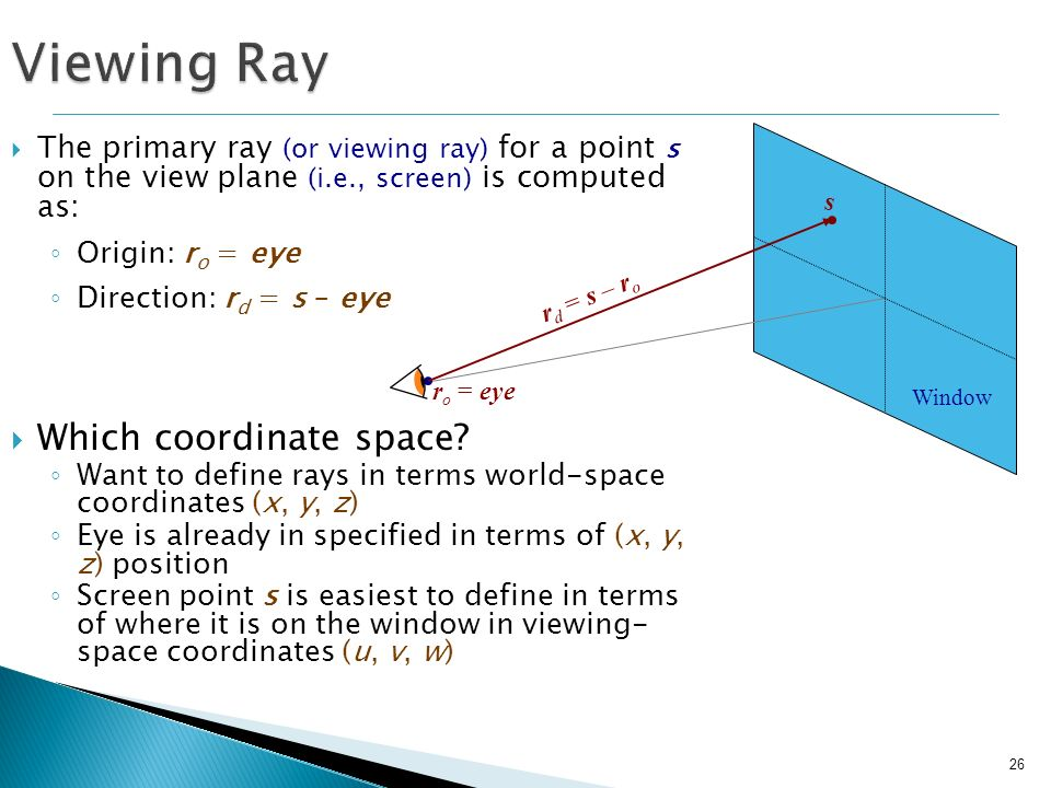 Viewing Ray Which coordinate space