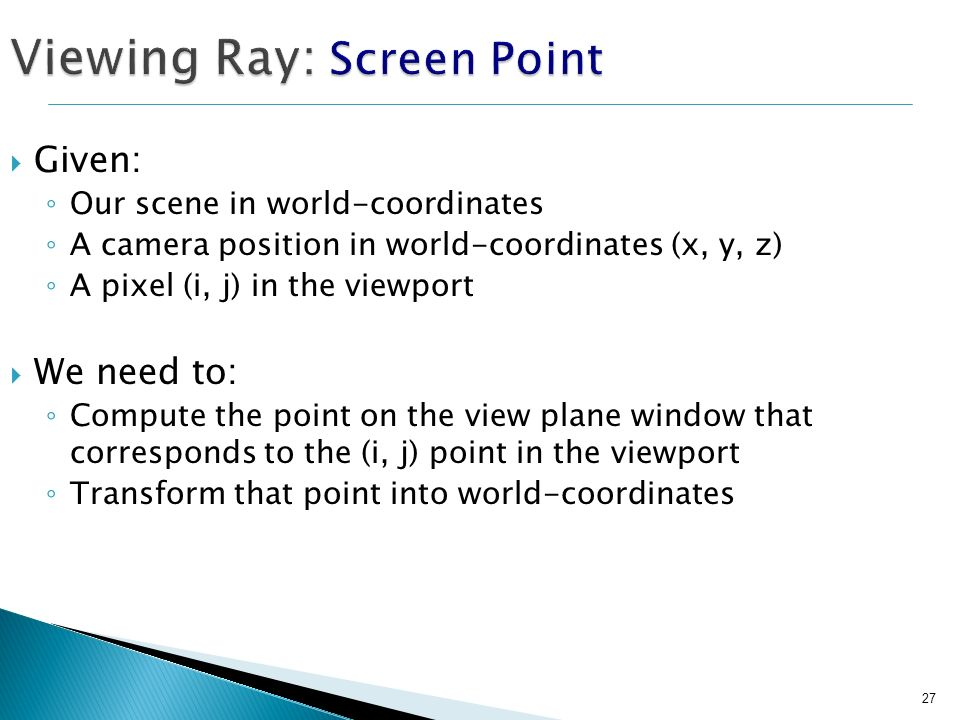 Viewing Ray: Screen Point
