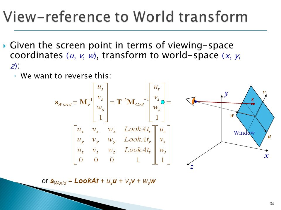 View-reference to World transform