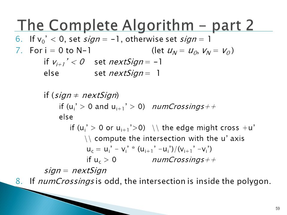 The Complete Algorithm - part 2