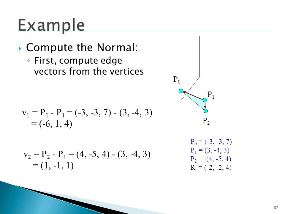 Example Compute the Normal: v1 = P0 - P1 = (-3, -3, 7) - (3, -4, 3)
