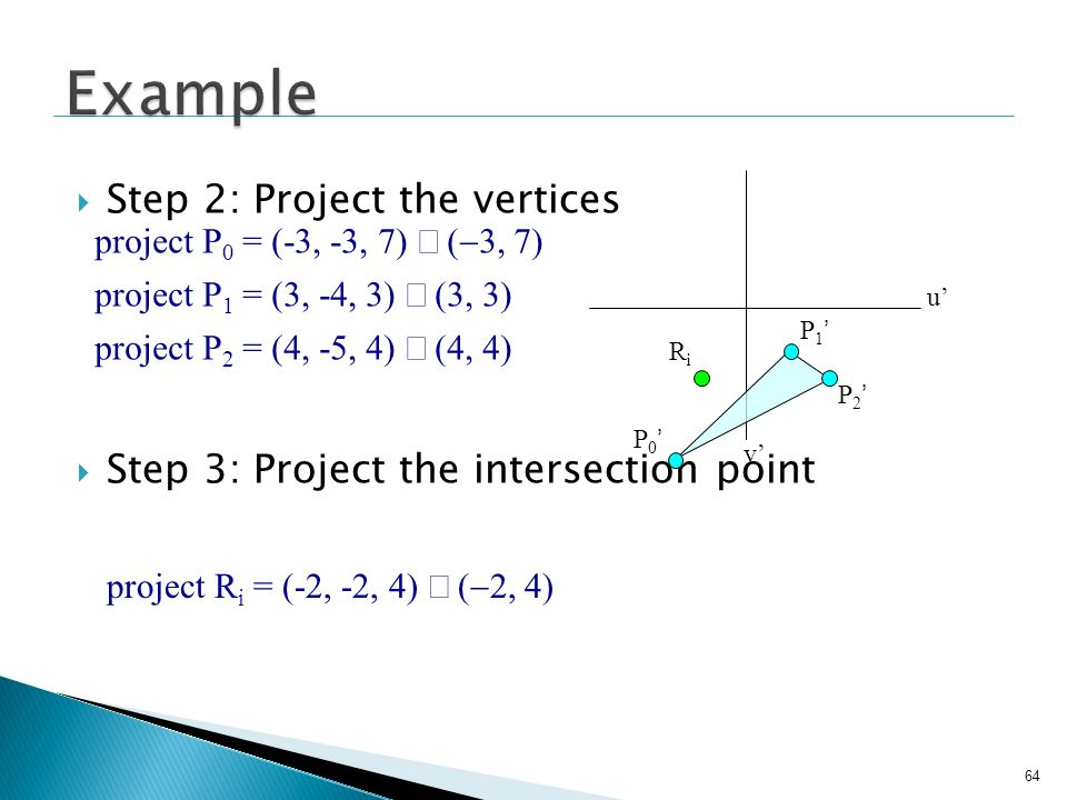Example Step 2: Project the vertices