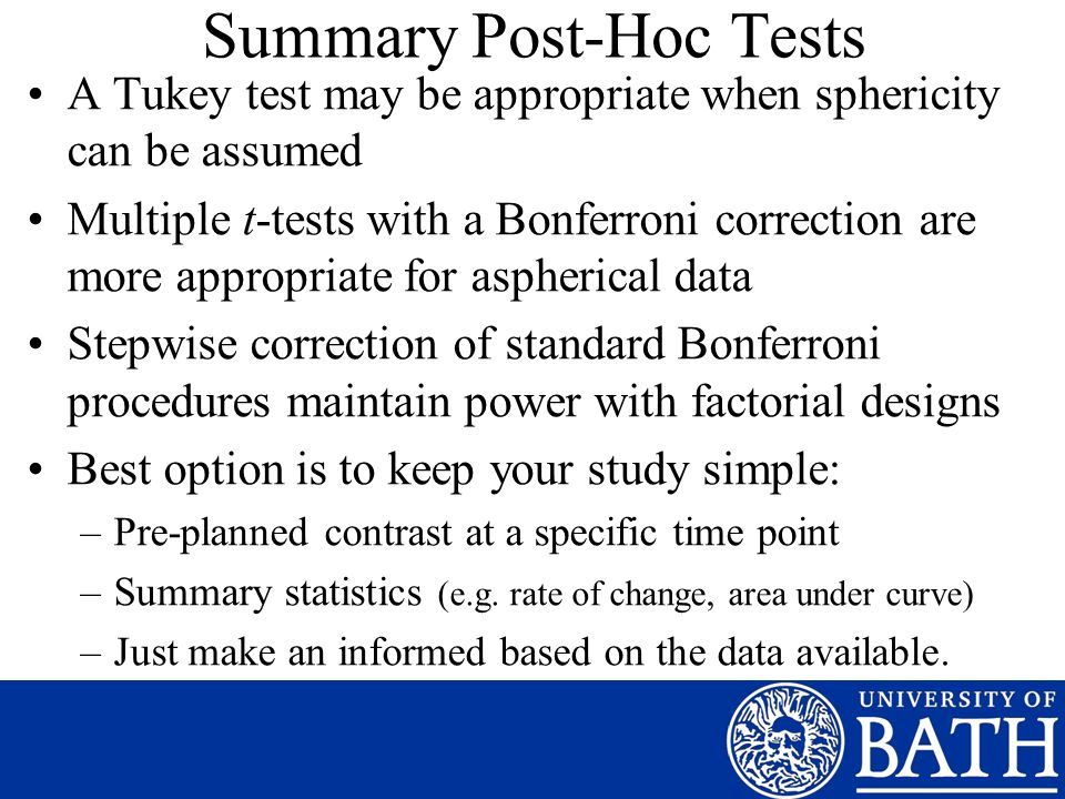 Summary Post-Hoc Tests