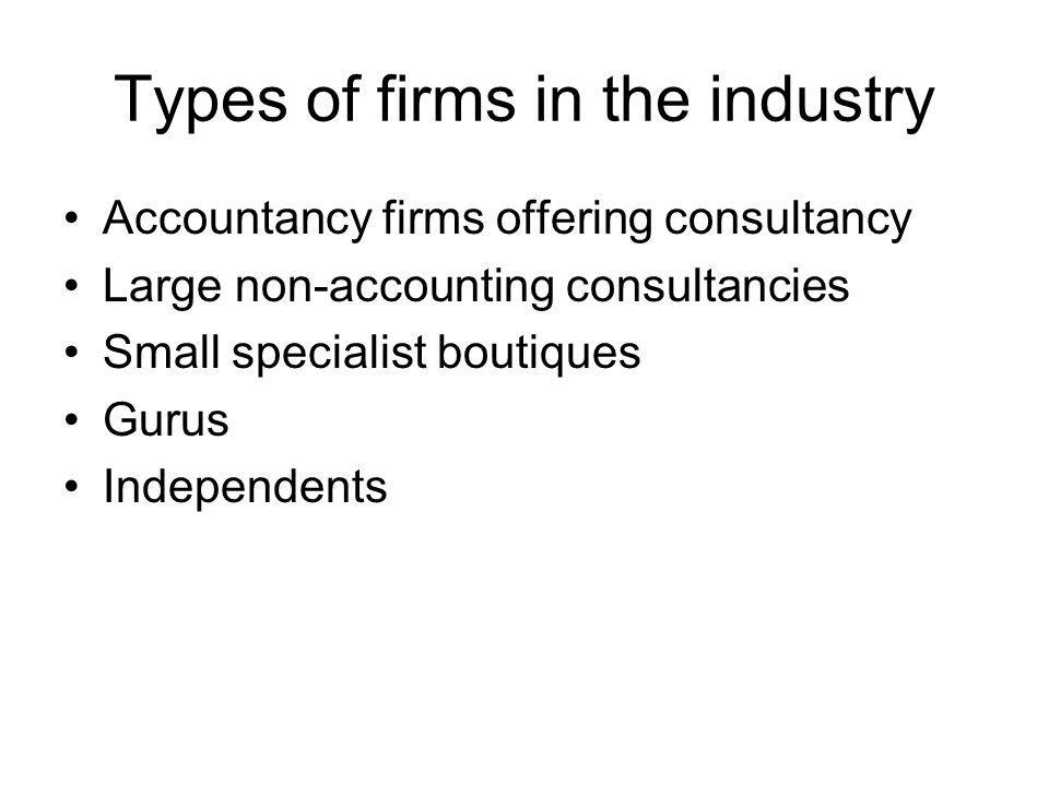 Types of firms in the industry