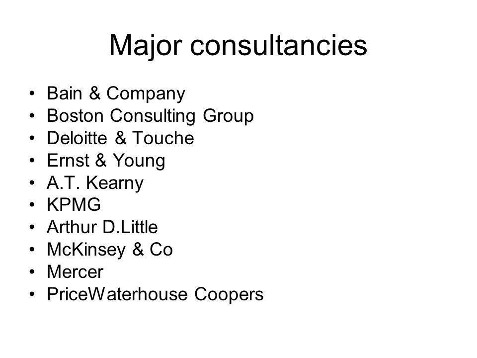 Major consultancies Bain & Company Boston Consulting Group