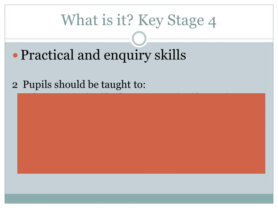 What is it Key Stage 4 Practical and enquiry skills