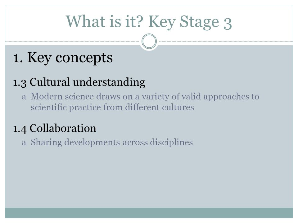 What is it Key Stage 3 1. Key concepts 1.3 Cultural understanding