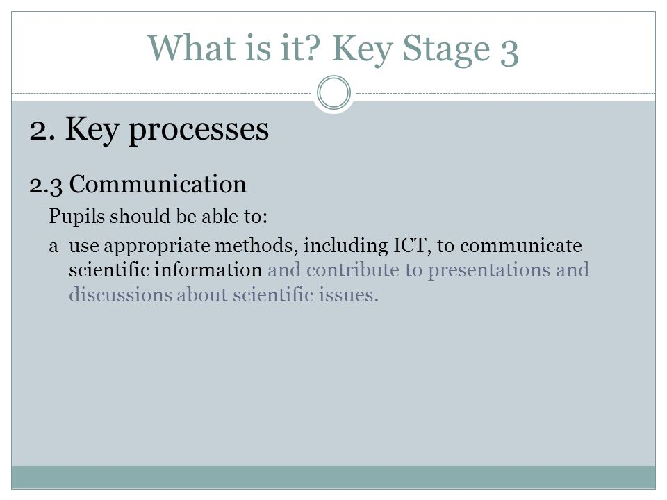 What is it Key Stage 3 2. Key processes 2.3 Communication