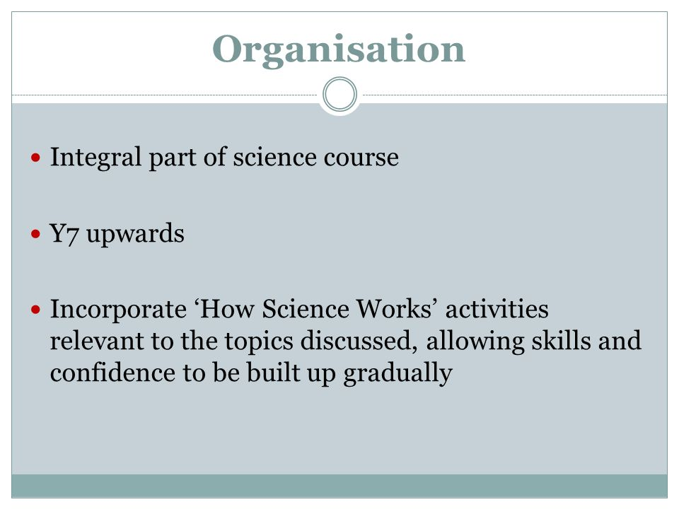 Organisation Integral part of science course Y7 upwards
