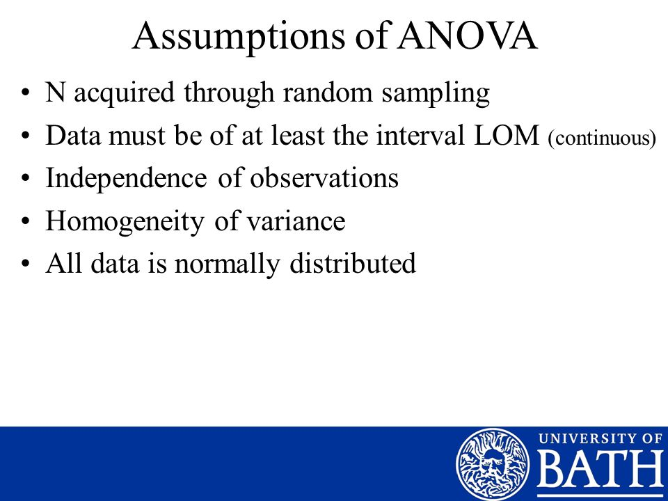 Assumptions of ANOVA N acquired through random sampling