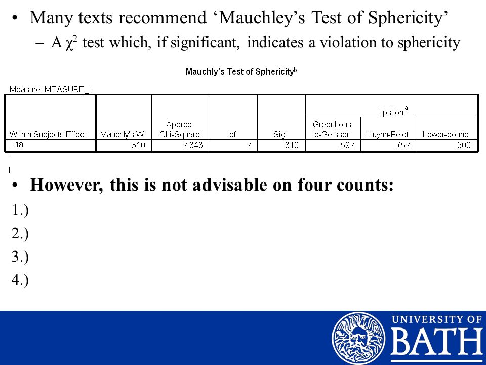 Many texts recommend 'Mauchley's Test of Sphericity'