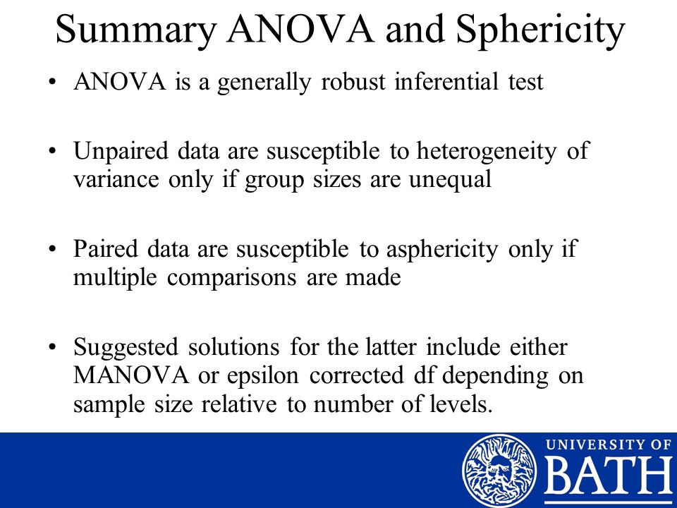 Summary ANOVA and Sphericity