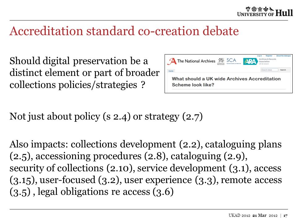 Accreditation standard co-creation debate