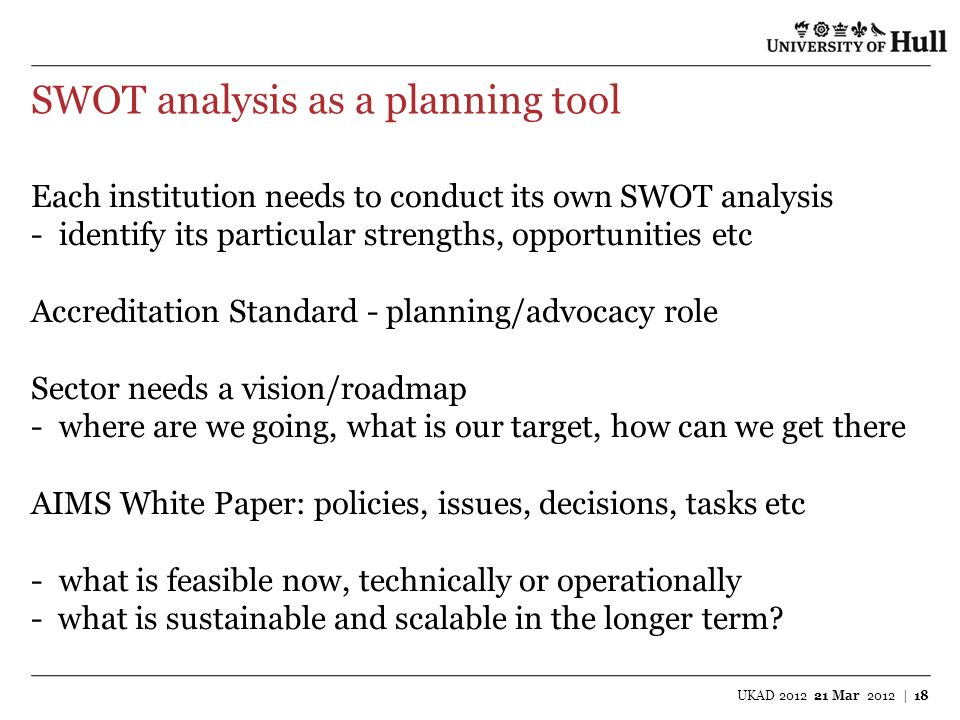 SWOT analysis as a planning tool