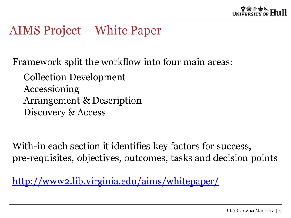 AIMS Project – White Paper