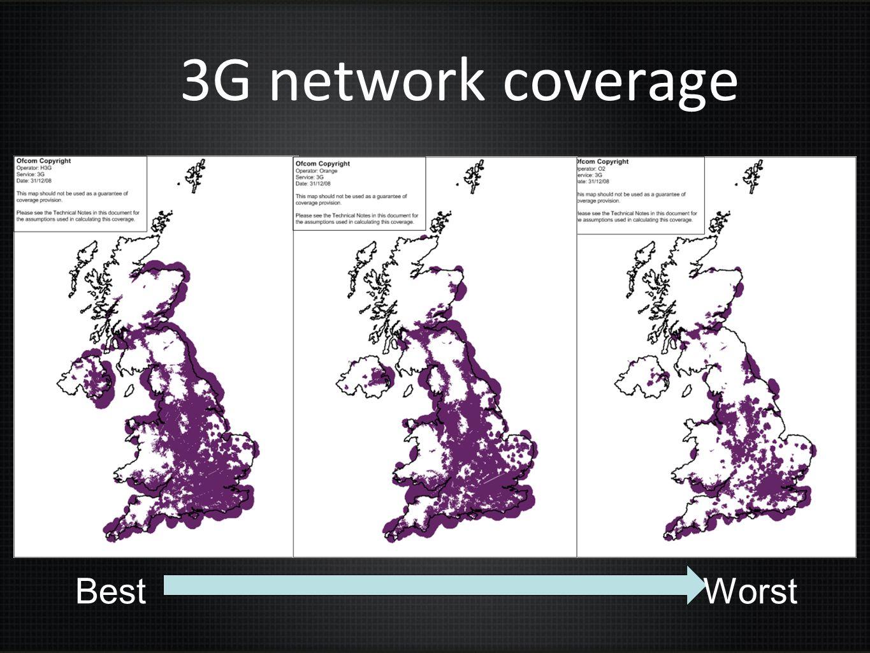 3G network coverage Best Worst