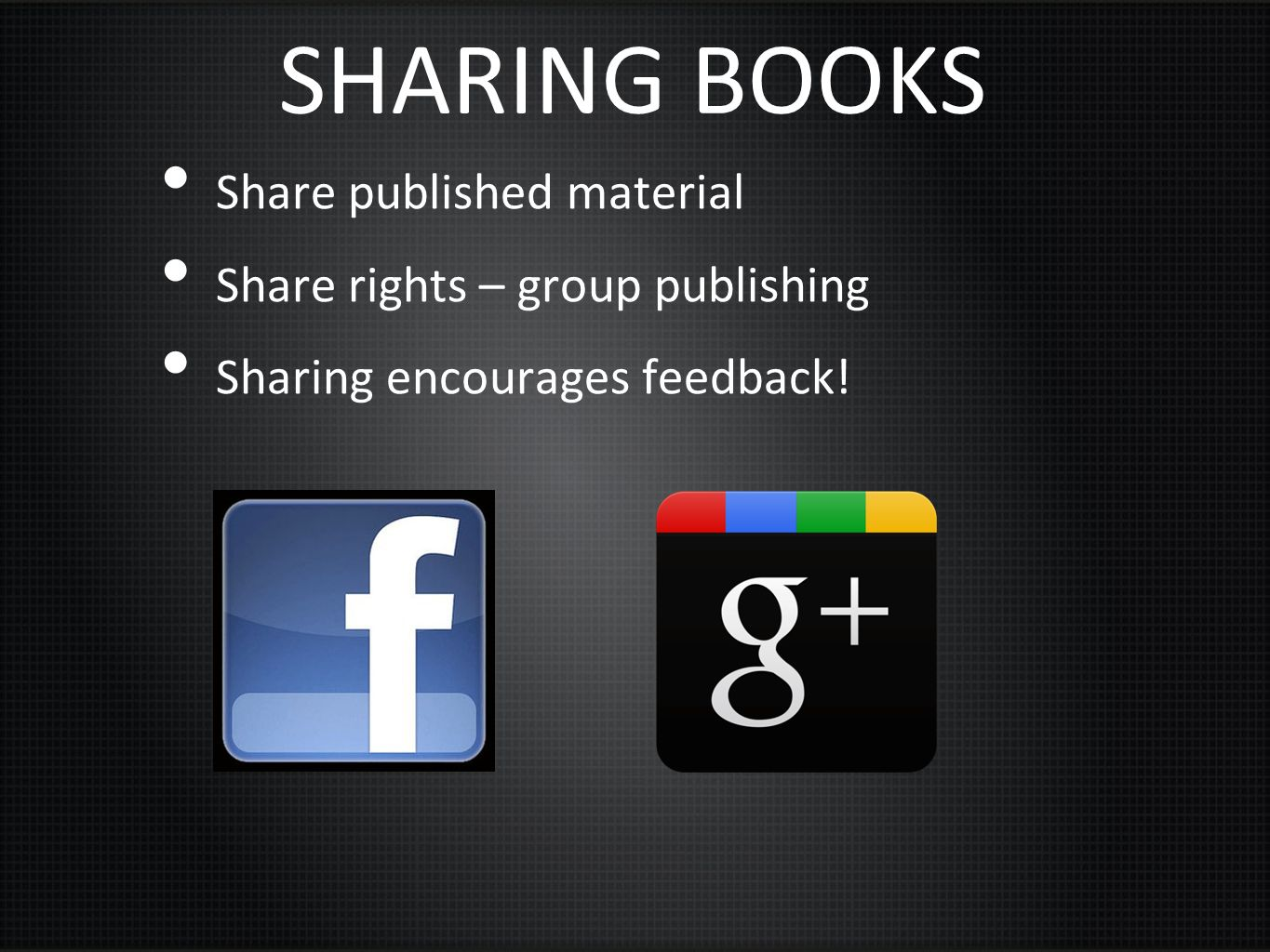 SHARING BOOKS Share published material Share rights – group publishing