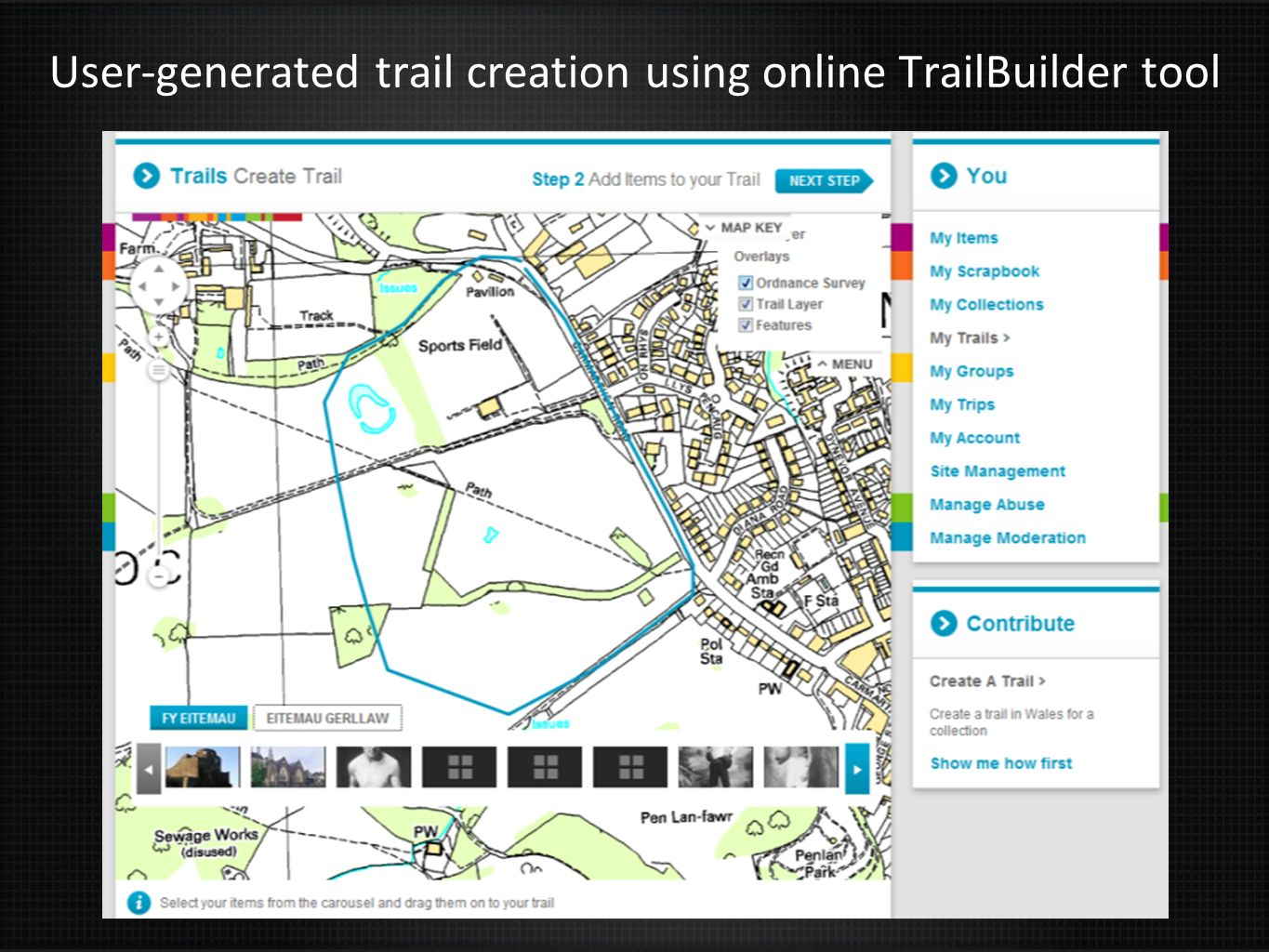 User-generated trail creation using online TrailBuilder tool