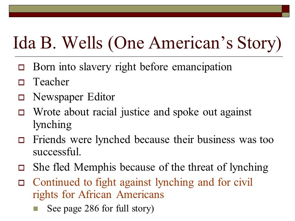 a fight against injustice an ida b wells story Essay the life and achievemets of ida b wells essay the life and achievemets of ida b wells  one had better die fighting against injustice than die like a.
