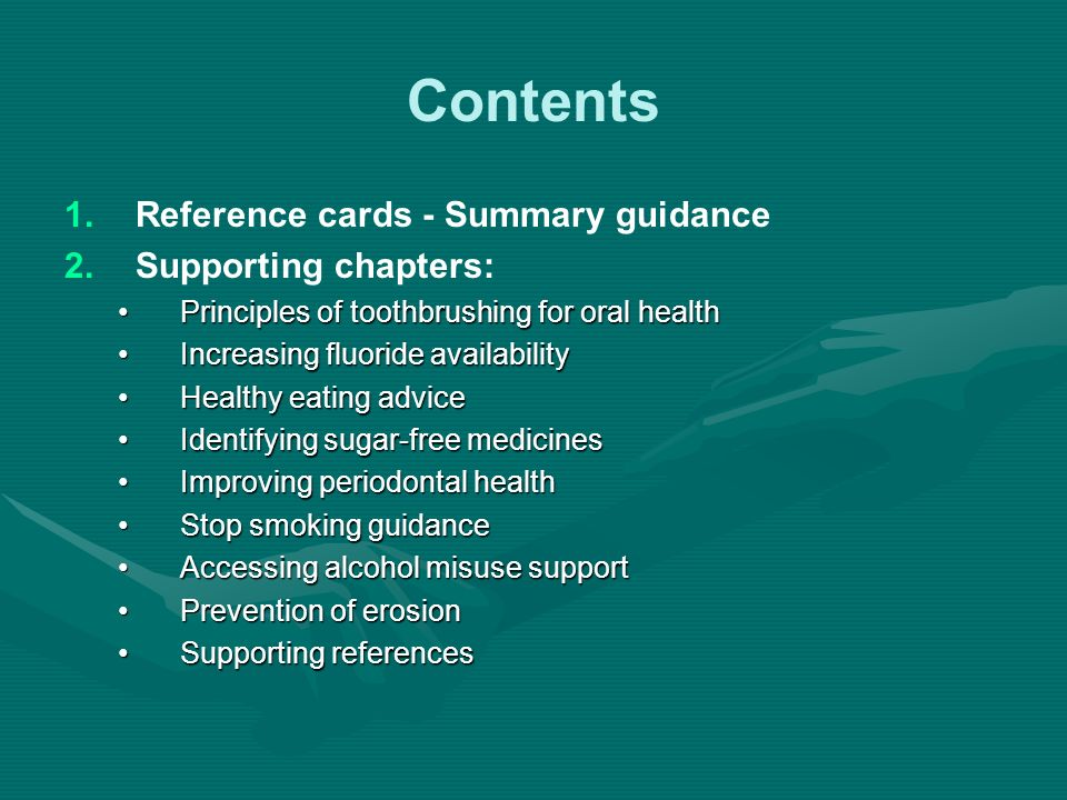 Contents Reference cards - Summary guidance Supporting chapters: