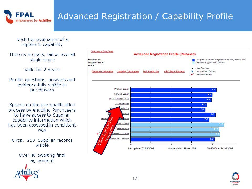 Advanced Registration / Capability Profile