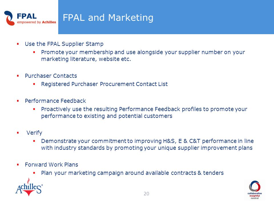 FPAL and Marketing Use the FPAL Supplier Stamp