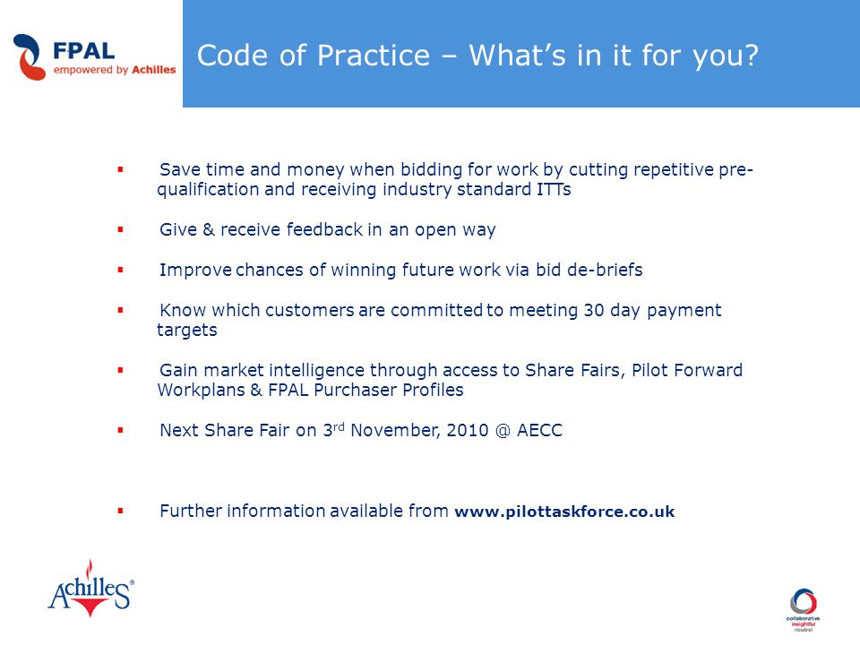 Code of Practice – What's in it for you