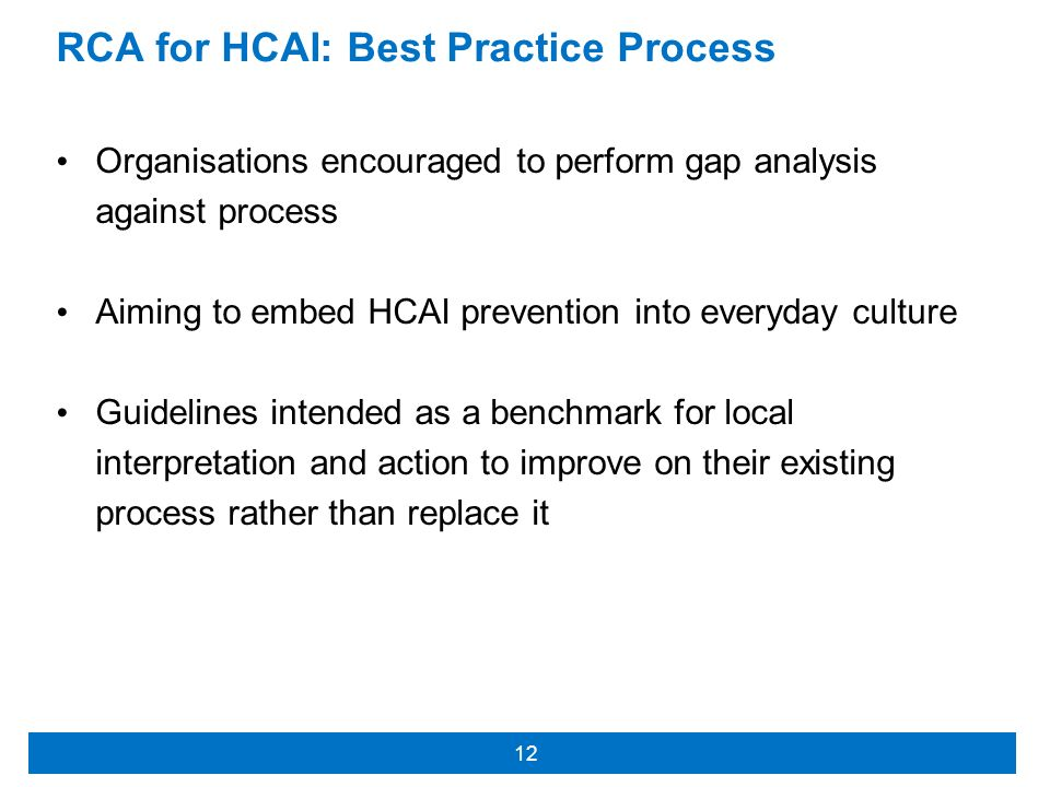 RCA for HCAI: Best Practice Process