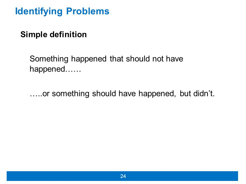 Identifying Problems Simple definition