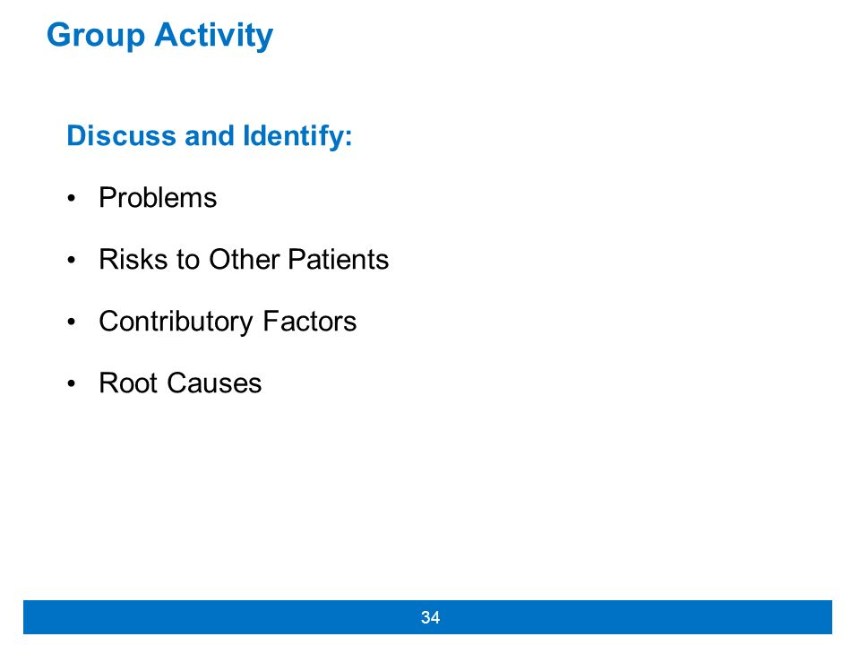 Group Activity Discuss and Identify: Problems Risks to Other Patients