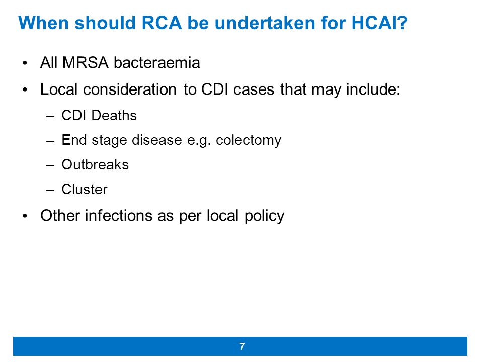 When should RCA be undertaken for HCAI