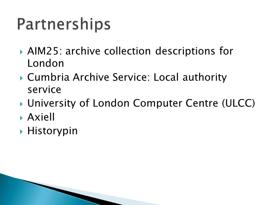 Partnerships AIM25: archive collection descriptions for London