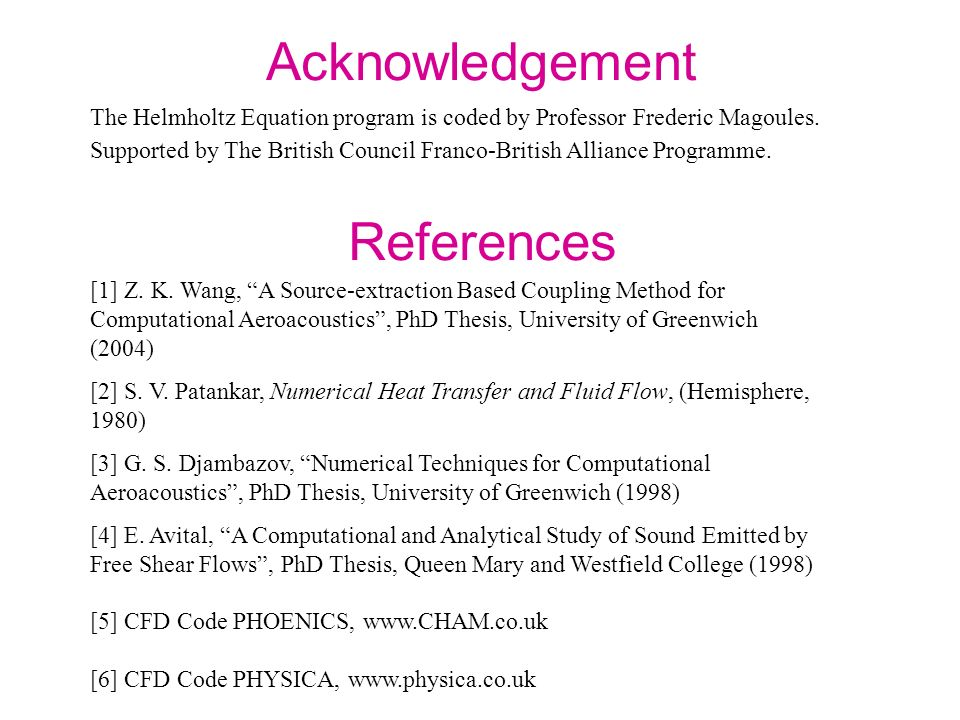 Acknowledgement References