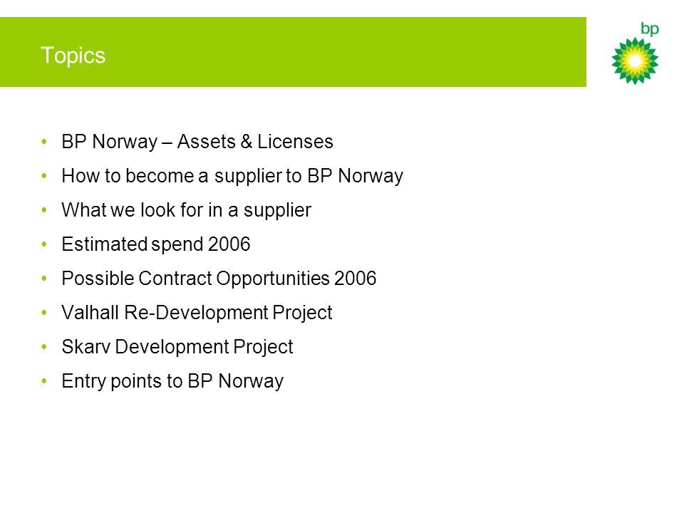 Topics BP Norway – Assets & Licenses