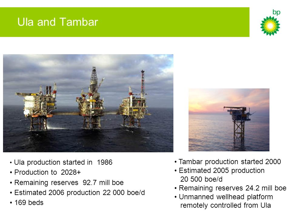 Ula and Tambar Tambar production started 2000 Production to 2028+