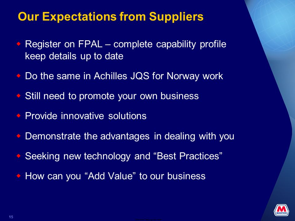 Our Expectations from Suppliers