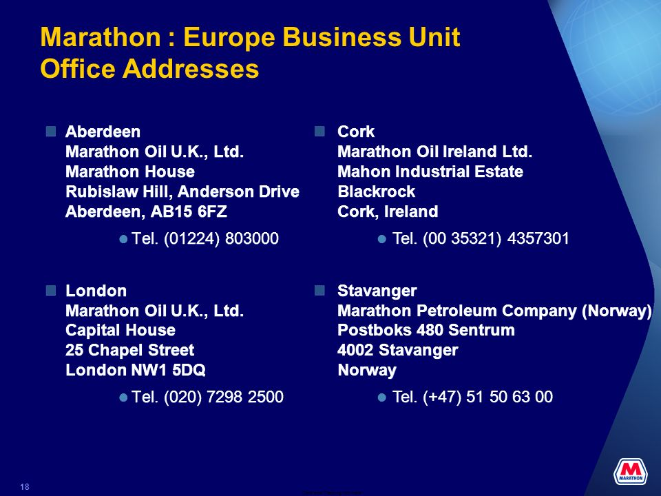 Marathon : Europe Business Unit Office Addresses