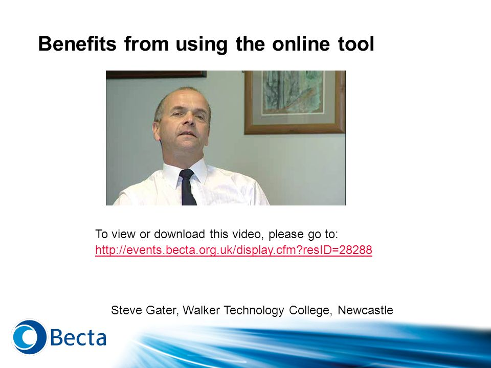 Benefits from using the online tool