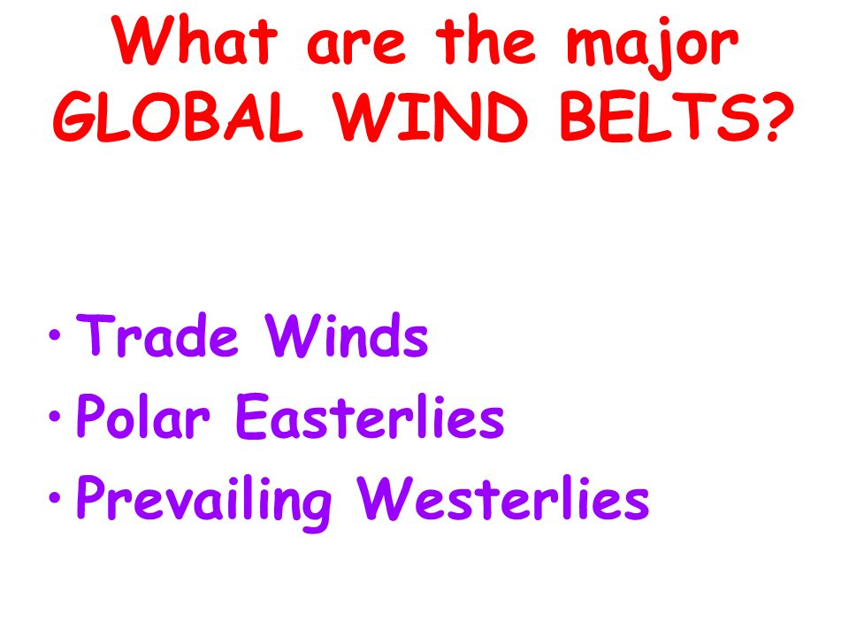What are the major GLOBAL WIND BELTS