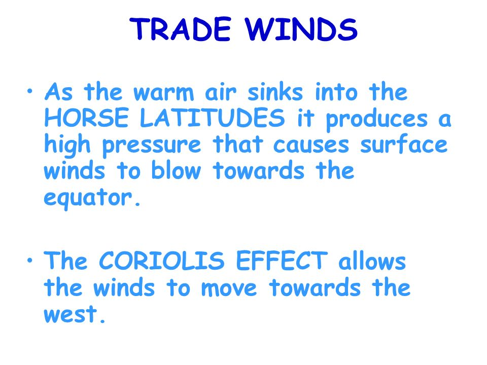 TRADE WINDS As the warm air sinks into the HORSE LATITUDES it produces a high pressure that causes surface winds to blow towards the equator.
