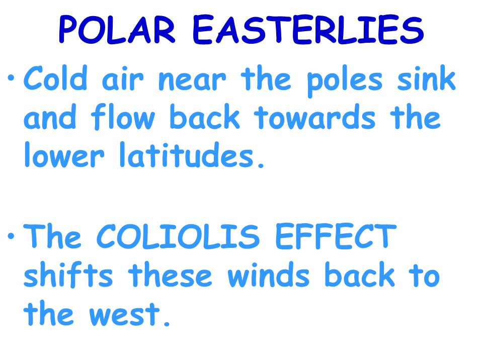 POLAR EASTERLIES Cold air near the poles sink and flow back towards the lower latitudes.