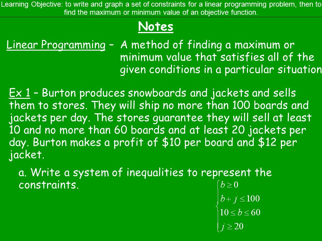 3.5 Linear Programming Warm-up (IN) 1. Solve the system: (5, 2 ...
