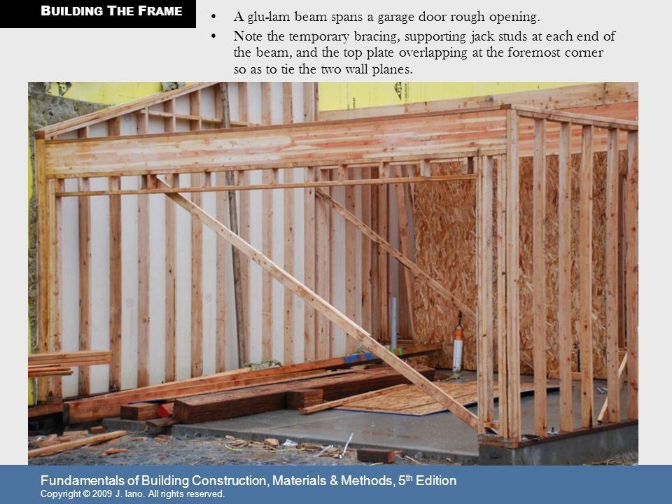 garage door rough openingBUILDING THE FRAME Walls are constructed in sections lying down